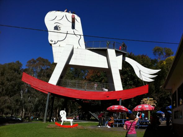 The Big Rocking Horse at Gumeracha in South Australia. Standing 18 metres high, it's a great school holiday activity near adelaide