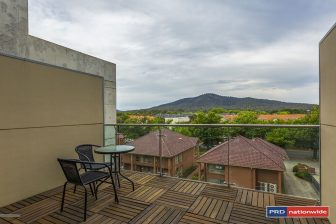 A view of Mount Ainslie in Bradden, Canberra, from the balcony of a $500 per week loft rental apartment,