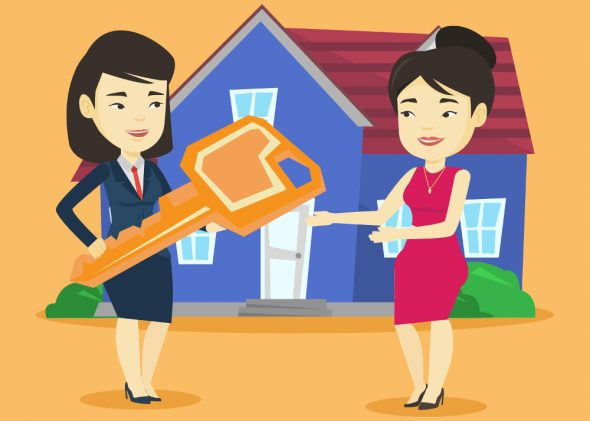 A featuring a female real estate agent handing a large house key to a new owner or renter, in front of a blue house