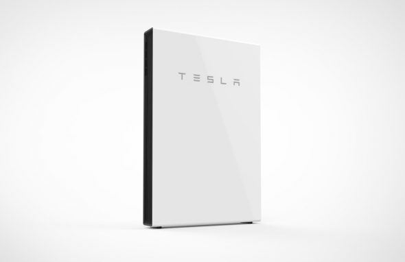 A Tesla Powerwall in a white field. The Tesla Powerwall stores solar power for later use in residential and commercial buildings.