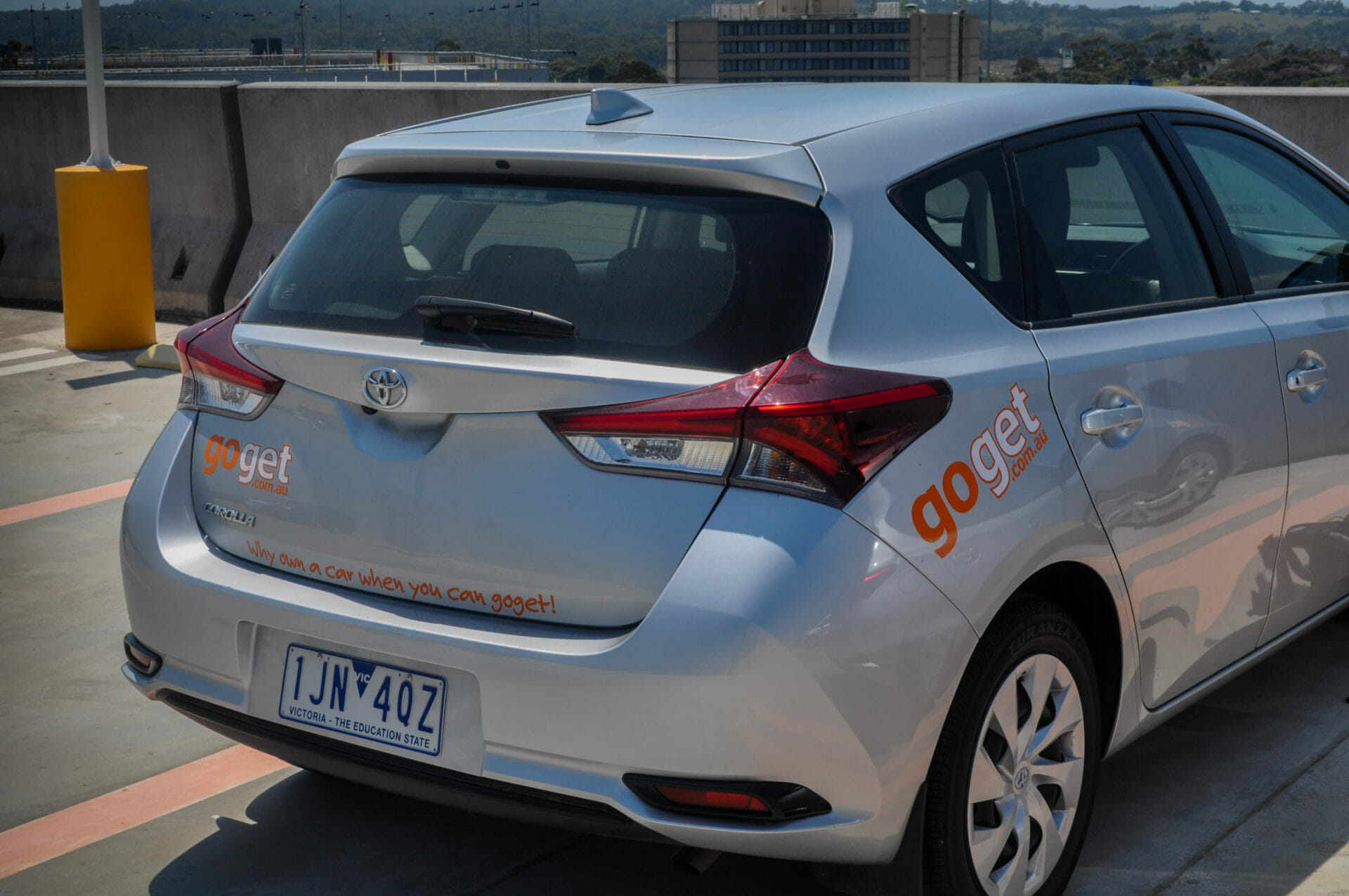 A GoGet Corolla at Melbourne Airport with a Victorian license plate