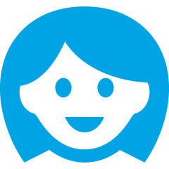 An icon of a smiling business woman in GoGet light blue