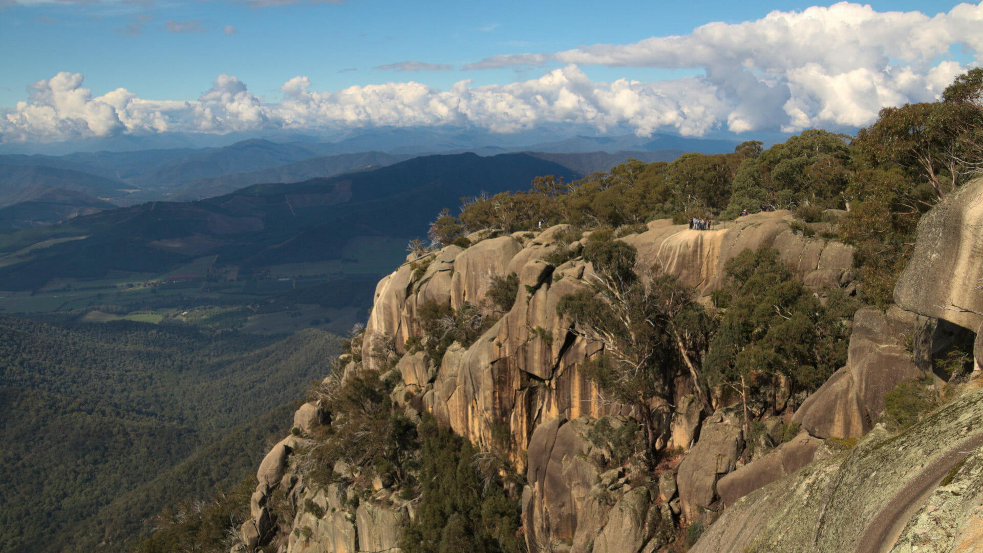 A shot from the top of Mount Buffalo over the valley in Victoria Australia