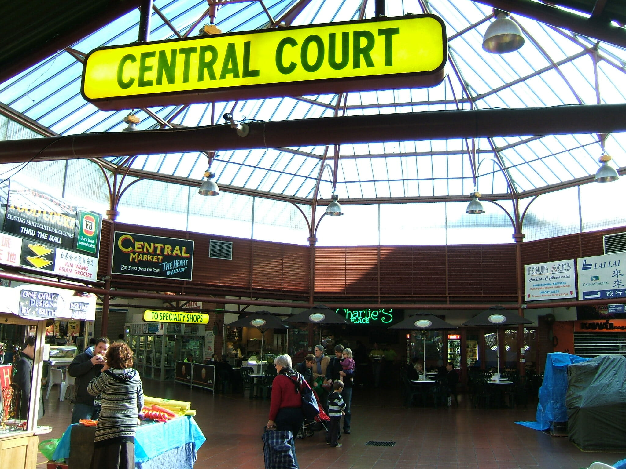 Central Court at Adelaide Central Market which, along with great stalls, has Free WiFi