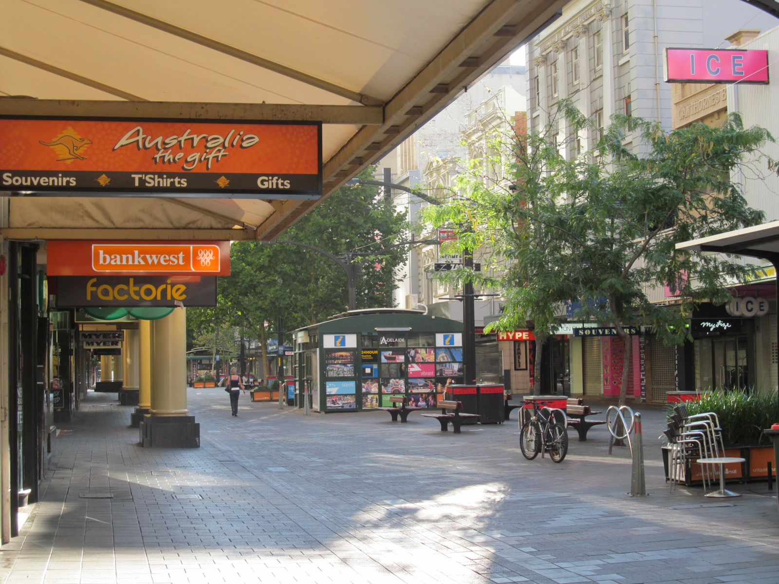 Rundle Mall in the morning light, Adelaide's main shopping strip, with Adelaide Free WiFi internet available