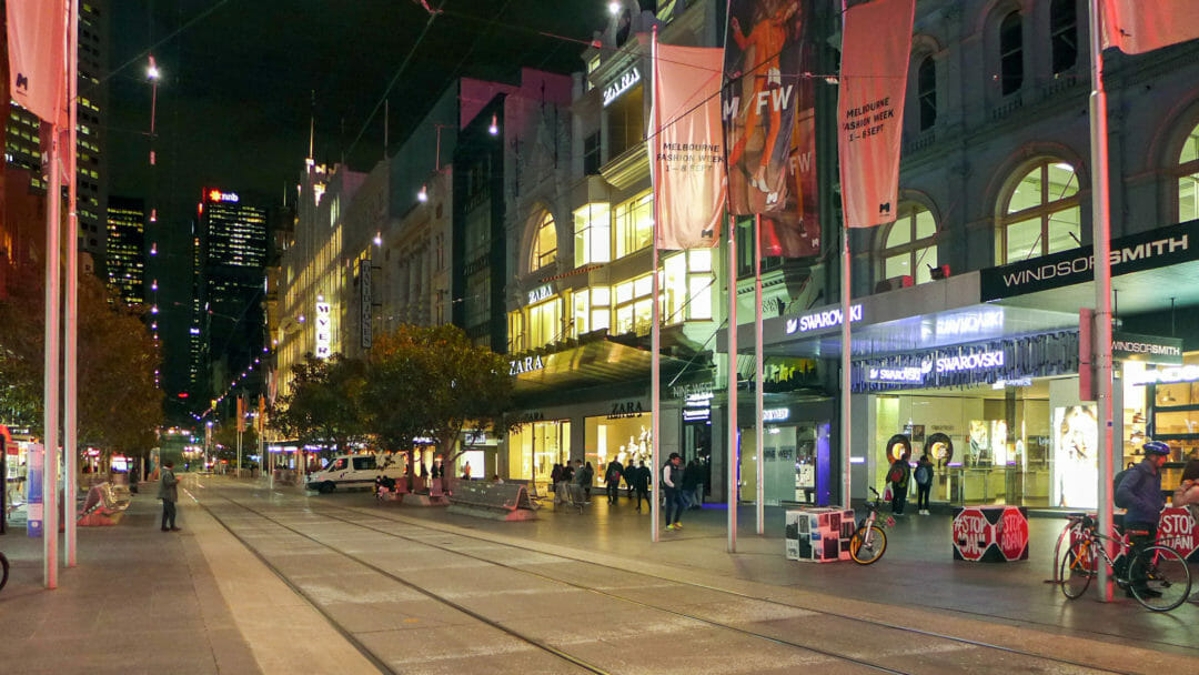 Bourke Street Mall in Melbourne at night, where the city's Free Wifi is available