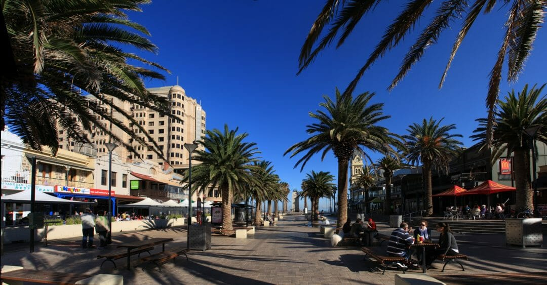 Glenelg Beach Boulevard in Adelaide, a pedestrian mall with palm trees lining each side
