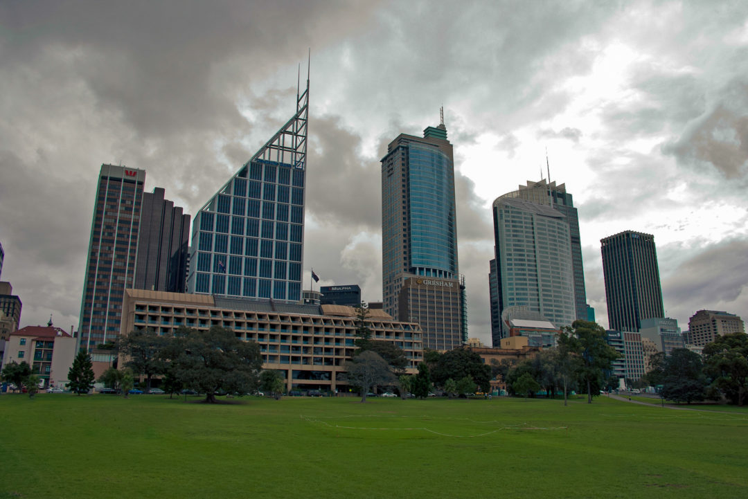 A cloudy sydney skyline from the domain - parking at the domain isn't an easy ask, but cars in this image have managed it