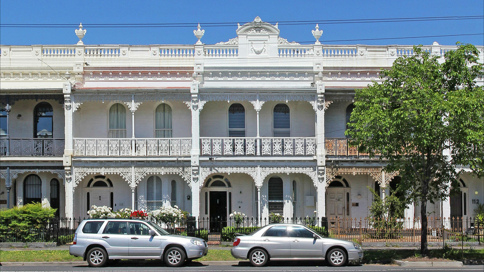 Buying property when moving to Sydney, youll see Victorian terraces like these white ones lining Canterberry road