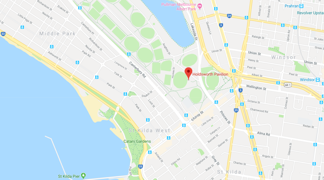 A google maps screenshot of the location of the best place to park in Albert Park Reserve near St Kilda beach