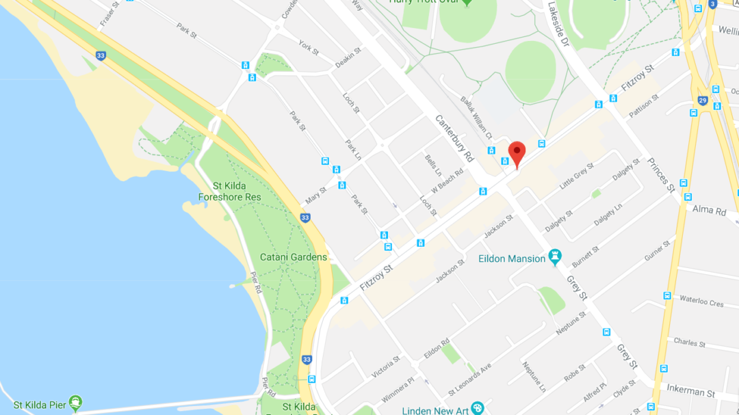 A google maps screenshot of the location of Fitzroy Street parking precinct at St Kilda in Melbourne