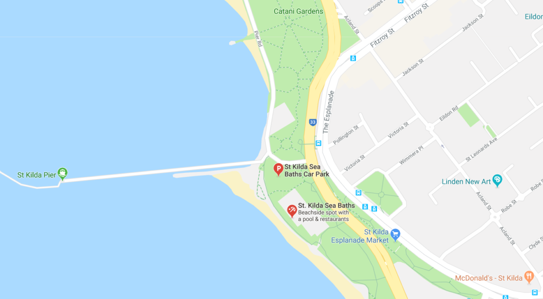 A google maps screenshot of the location of the St Kilda sea baths parking lot, parking right next to St Kilda beach in Melbourne
