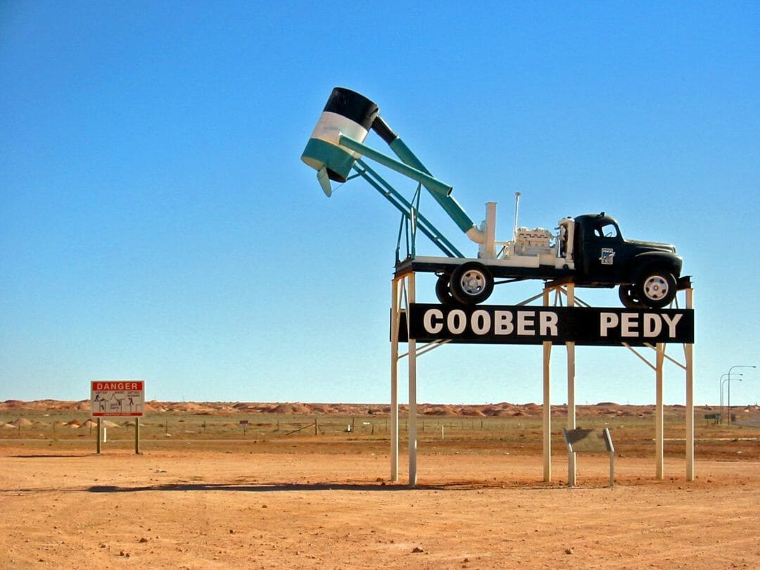 The truck sculpture at Coober Pedy South Australia, an opal mining town that is one of the weirdest australian road trips you'll find