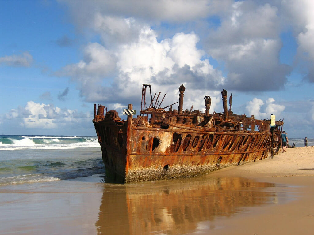 The wreck of SS Maheno on Fraser Island