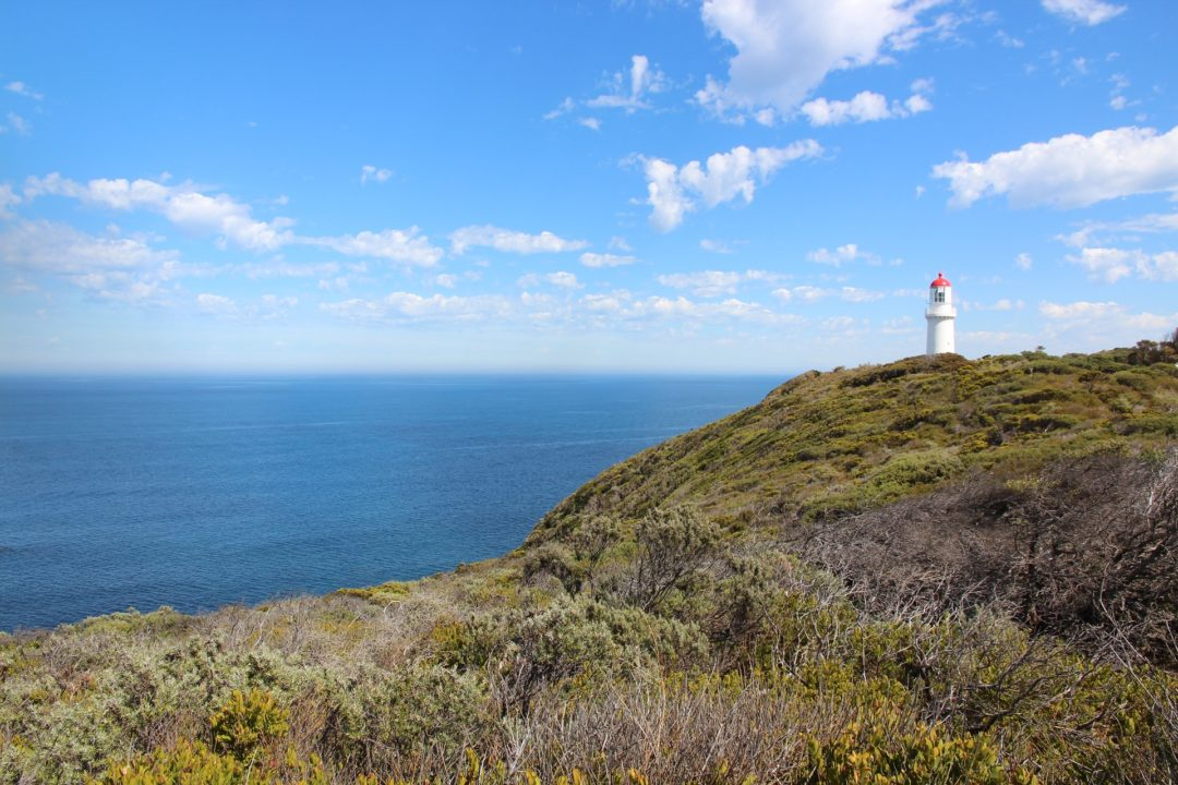 Cape Schanck Lighthouse on a beautiful clear day, an ideal romantic road trip destination on the Mornington Peninsula in Melbourne Australia