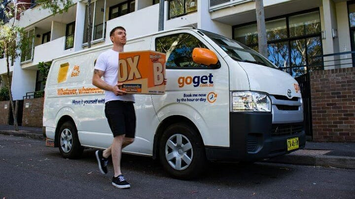 A man moving house with a GoGet van, which he has access to without owning it