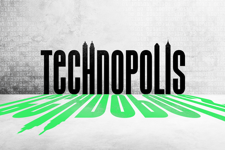 The art for the technopolis podcast, one of the best road trip podcasts about cities