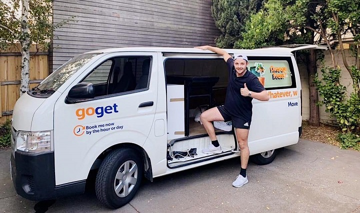 Tom enjoying a GoGet van, one of the range of car share vehicles available to him