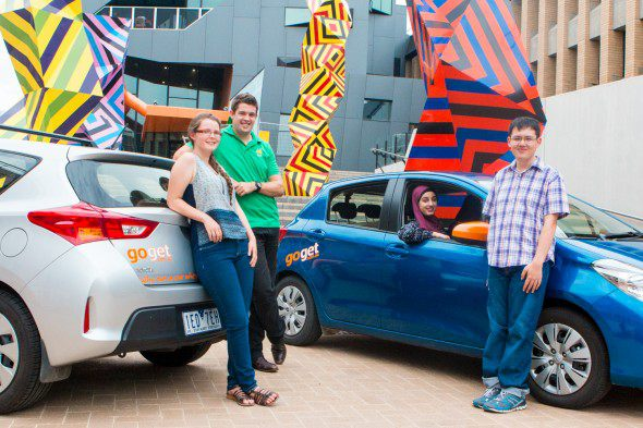 La Trobe students with GoGet cars