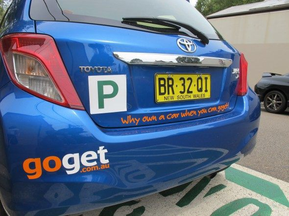 A blue GoGet car with a Green p plate on it - GoGet is a great alternative to car rental for young drivers