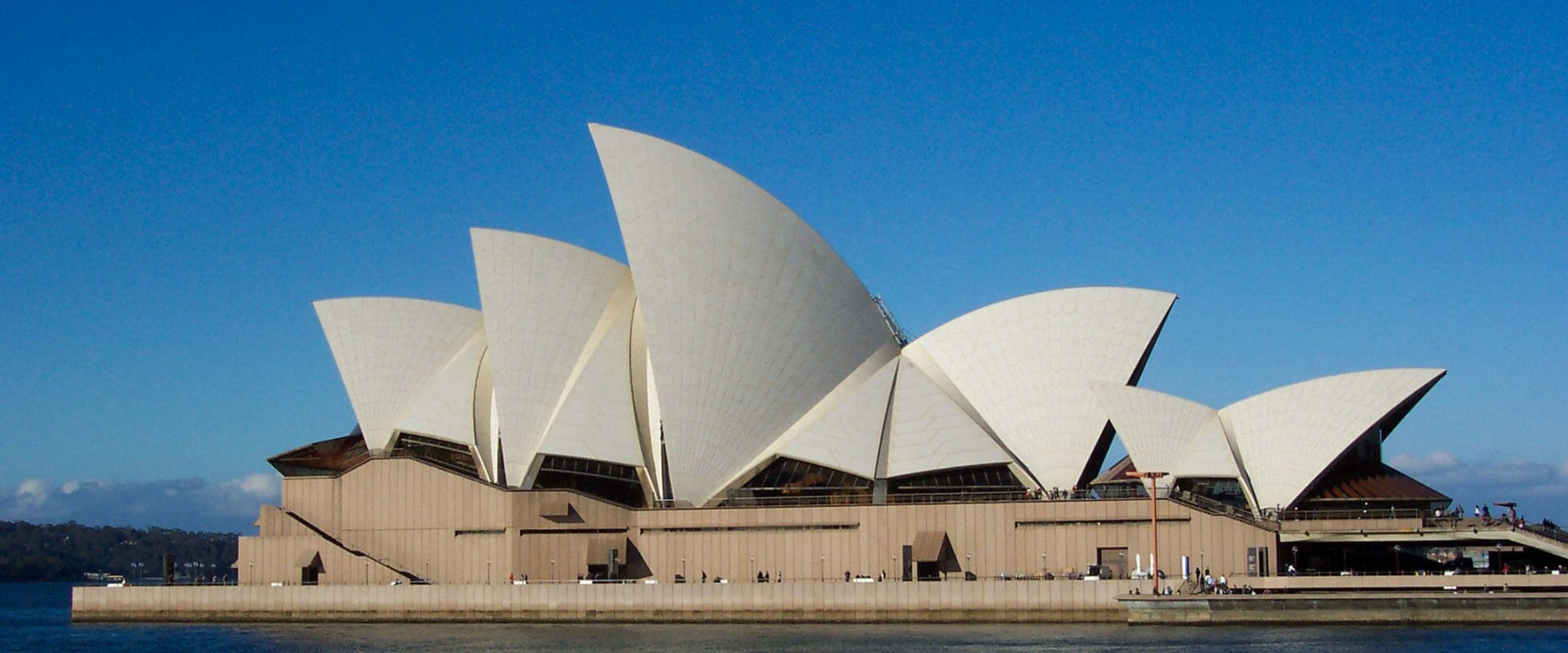 The sails of the Sydney Opera house on a calm, sunny day