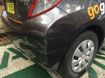 Scratched GoGet car