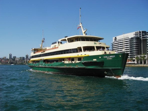 The Manly Ferry sailing across Sydney Harbour on a sunny day